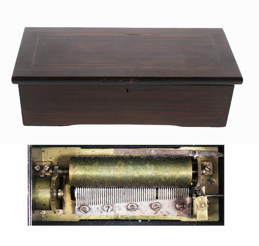 A cylinder musical box playing six aires, circa 1890,