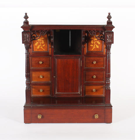 An unusual mahogany inlaid musical cabinet, circa 1900,