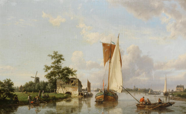Hermanus Koekkoek, Snr (Dutch, 1815-1882) Dutch river scene with a sailing barge, fishermen and figures gathered on the bank