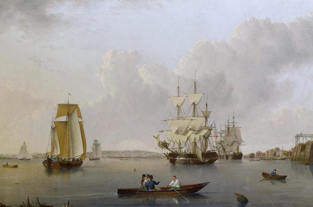 William Anderson (British, 1757-1837) Merchant ships and Indiamen lying off the Isle of Dogs with smaller vessels in the river and  Greenwich Hospital on the opposite bank