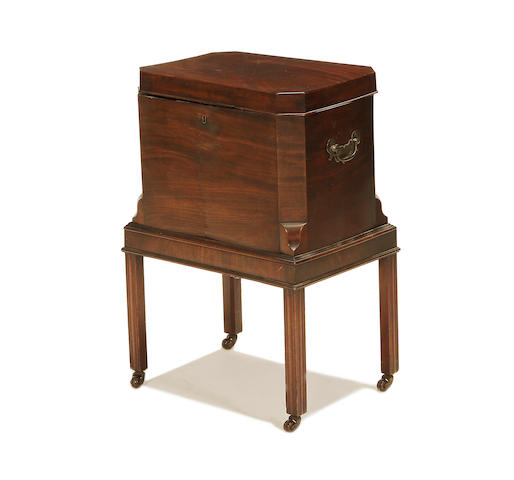 A 19th century George III style mahogany cellarette on stand