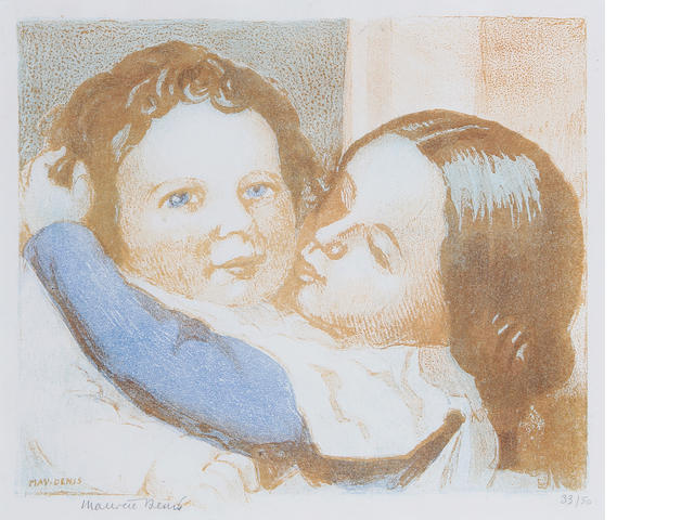 Maurice Denis (French, 1870-1943) Enfants S'embrassant Lithograph in colours, 1940, on Lafuma, signed and numbered 33/50 in pencil, with full margins, 220 x 280 mm (8 6/8 x 11 in) (I)