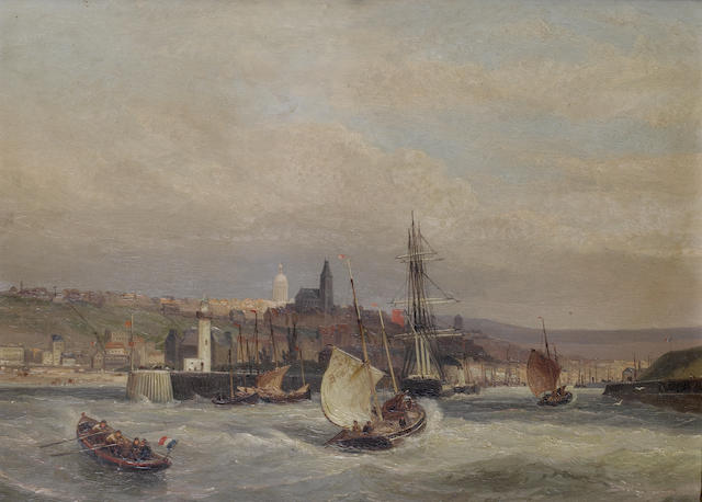 Cornelis Christiaan Dommersen (Dutch, 1842-1928) Entrance to the harbour of Boulogne; Rotterdam