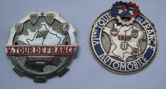 Two Tour d'France Automobile badges, 1956 and 1957,