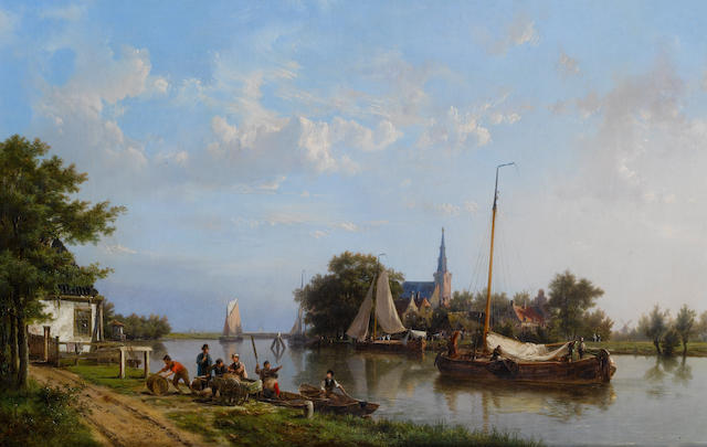 Hermanus Koekkoek, Snr. (Dutch, 1815-1882) Barges on a canal in summer