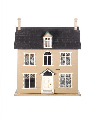 Painted wooden Dolls House, English circa 1880