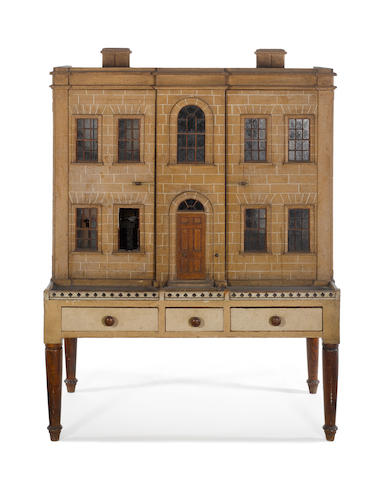A fine and important English Dolls House on three drawer stand, early 19th century