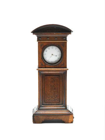Birch Tenterden. An early 19th century silver pair case pocket watch in mahogony miniature clock case1832 London hallmark