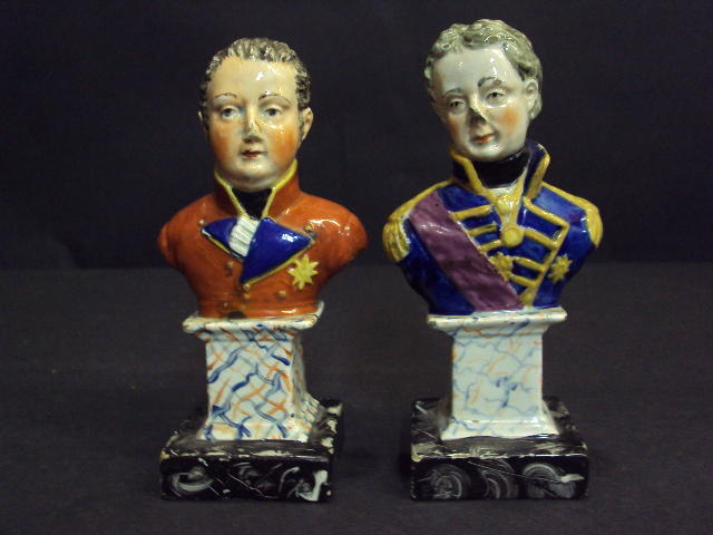 A pair of pearlware busts, Duke of York and Nelson