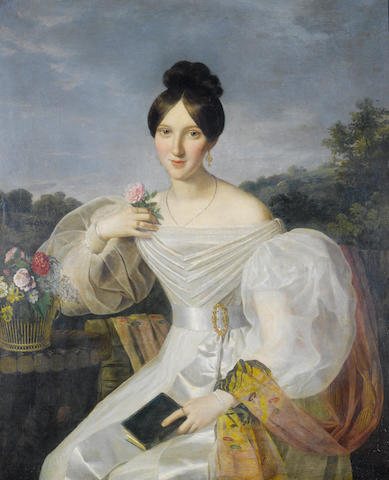 Studio of Ferdinand Georg Waldmüller (Austrian, 1793-1865) A lady in a white dress and shawl before a Viennese landscape