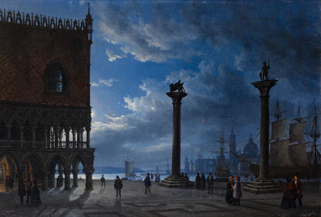 Attributed to Friedrich Nerly (German, 1807-1878) Piazza San Marco by moonlight