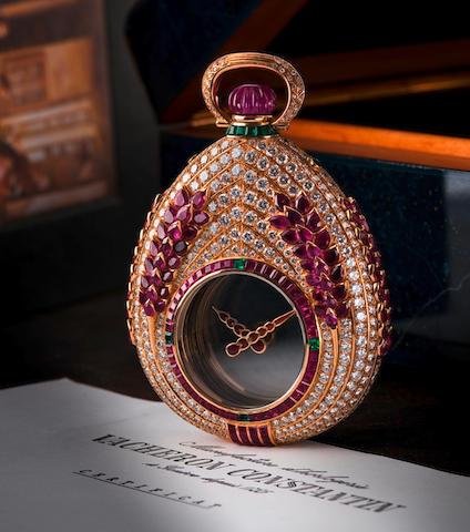 "Vacheron Constantin. An unique 18ct gold diamond ruby and emerald manual wind hunter pocket watch ""Mysterieuse"", Circa 1988"