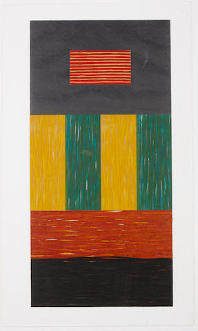 Sean Scully (Irish, born 1946) Bridge Woodcut printed in colours, 1991, signed and numbered 3/20 in pencil, published by Brooke Alexander, New York, 755 x 1280 mm (29 3/4 x 50 3/8 in) (SH)