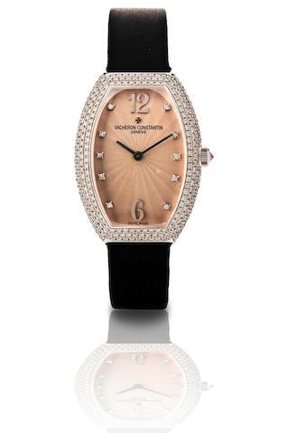 Vacheron Constantin.  A fine 18ct white gold tonneau shape ladies wristwatch with diamonds Egerie, Ref.25541, Case No. 814337, Circa 2008