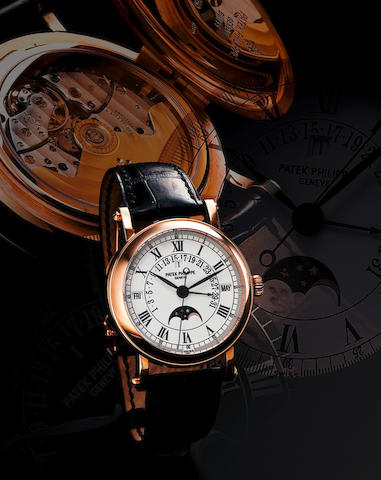 Patek Philippe. A very fine 18ct rose gold automatic perpetual calendar wristwatch with retrograde date Ref: 5059R, Case No. 4274165, Circa 2000s