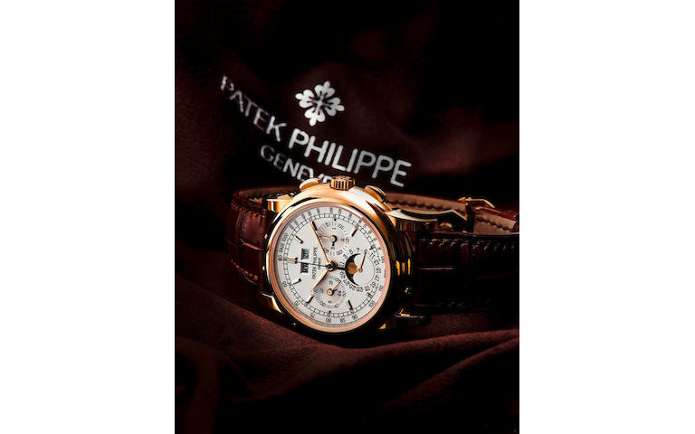 Patek Philippe. A very fine 18ct gold manual wind perpetual calendar wristwatch with chronograph Perpetual Calendar Chronograph, Ref. 5970J, Circa 2009