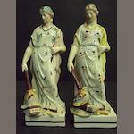 Two pearlware figures of Peace