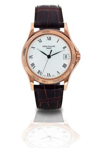 Patek Philippe. A fine 18ct rose gold automatic calendar wristwatch Calatrava, Ref.5117, Circa 2000s