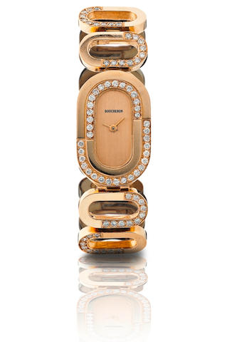 Boucheron. A fine 18ct gold manual wind diamond ladies wristwatch Movement by Ebel, Circa 1980s
