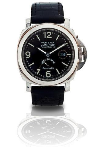 Officine Panerai.  A fine limited edition stainless steel automatic power reserve calendar wristwatch Luminor Power Reserve, Ref.PAM 027, Case No.C1765/2000, Circa 2000