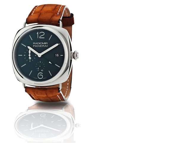 Officine Panerai.  A fine stainless steel limited edition automatic 10 days power reserve GMT wristwatch Radiomir 10 Days, Ref. PAM 323, Case No. M038/500, Circa 2011