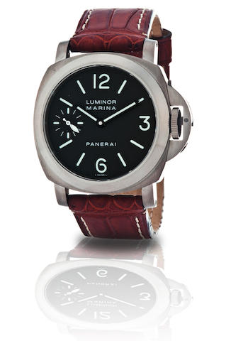 Officine Panerai. A fine and rare titanium manual wind limited edition wristwatch Luminor Marina Titanium, Ref. PAM 61, Case no. OOR27/80, Circa 2001