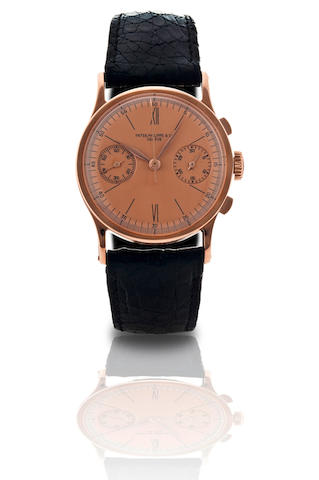 Patek Philippe. A fine and extremely rare 18ct rose gold manual wind chronograph wristwatchRef: 130, Case No. 619.110, Circa 1939