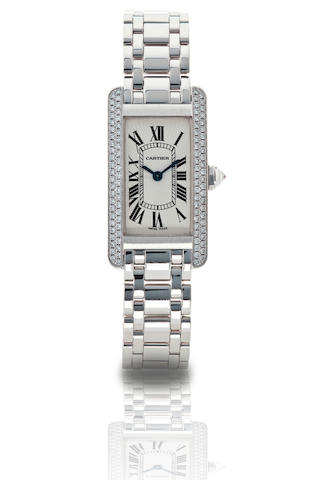 Cartier. A fine 18ct white gold and diamond ladies wristwatch Tank Americaine, Ref. WB7073L1, Case no. 988007CD, Circa 2000s