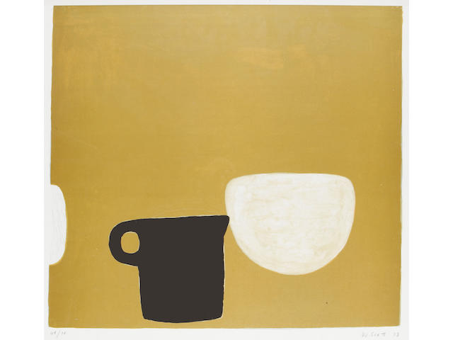 William Scott R.A. (British, 1913-1989) Cup and Bowl on Brown Lithograph, 1973, on BFK Rives, the full sheet with deckle edges, signed, dated and numbered 49/75 in pencil, published in the Mark Rothko portfolio, 530 x 635mm (21 x 25in)(SH)