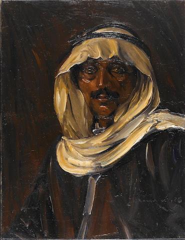 Ludwig Blum (Israeli, 1891-1975) Portrait with a keffiyeh