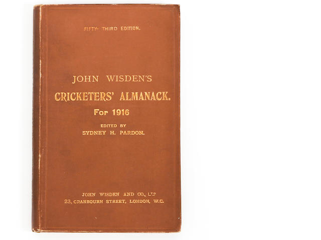 1916 Wisden cricketers almanack