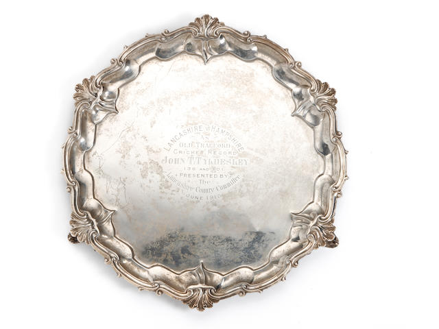 1910 Lancashire silver tray presented to J.Tyldesley