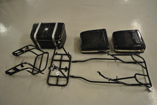 A set of Vincent touring racks and luggage,