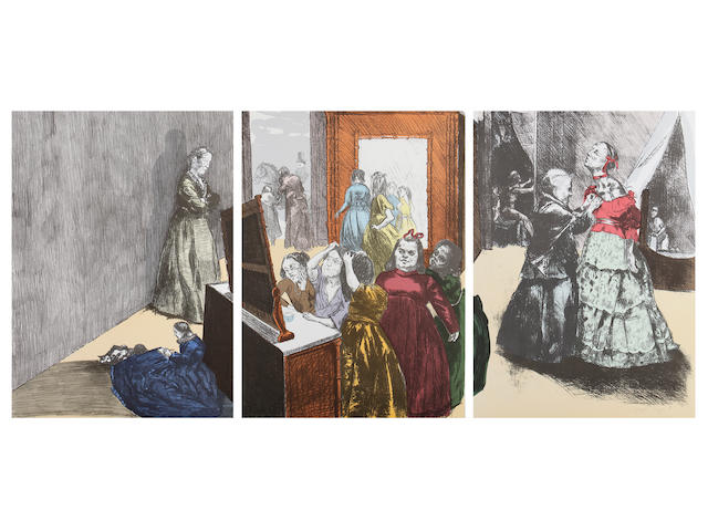 Paula Rego (British, 1935) Getting Ready for the Ball (Rosenthal 193) Lithograph in colours on three sheets, 2001-2002, on Somerset Velvet, signed in pencil, a proof aside from the edition of 35, printed by Curwen Press, Chilford, with full margins, 825 x 1800 mm (32 1/2 x 71 in) (SH) (unframed) (3)