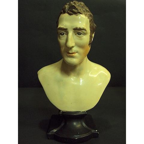 A pearlware bust of the Duke Of Wellington