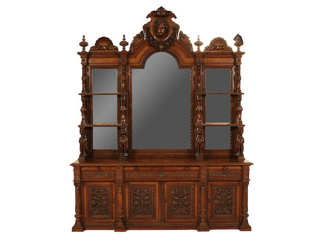 A Victorian carved and inlaid oak sideboard with raised mirror back, 212cm wide, 240cm overall height
