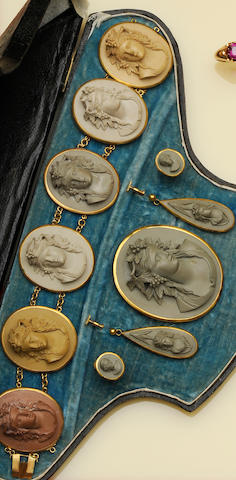 A Victorian lava cameo bracelet, brooch and two pairs of earrings