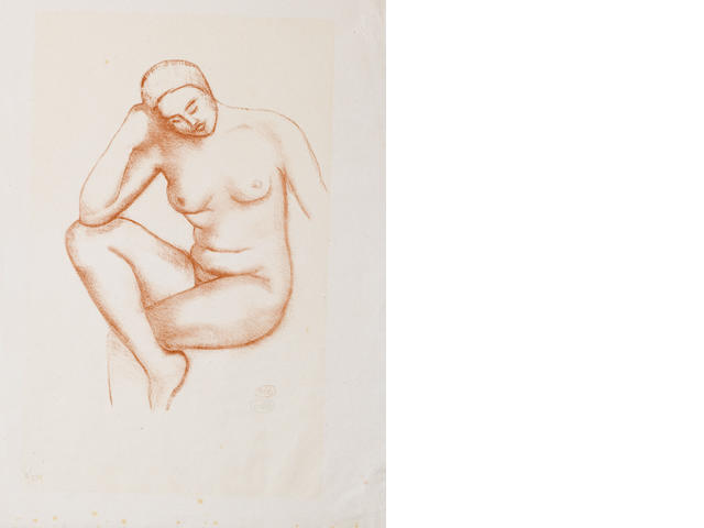 Aristide Maillol (French, 1861-1944) Nu assise Lithograph in sanguine, on cream laid, signed with monogramme, numbered 30/50 in pencil, 380 x 280mm (15 x 11in)(SH) unframed