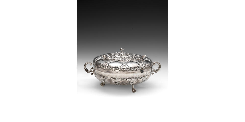 A rare late 17th century silver two-handled spiced wine/artichoke dish, by Thomas Jenkins, stamped with maker's mark only, London circa 1670,