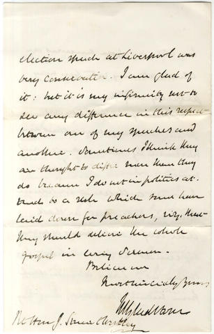 GLADSTONE (WILLIAM EWART) Series of twenty often long autograph letters signed, 1844-1867