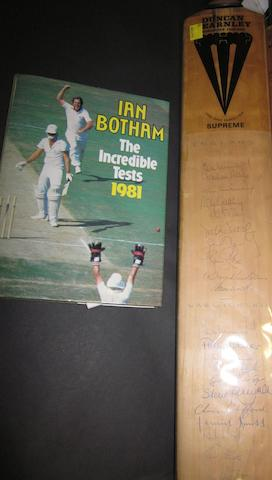 1948 Australian 'Invincibles' and 1981 test hand signed cricket bats