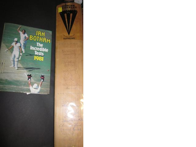 1981 cricket bat hand signed