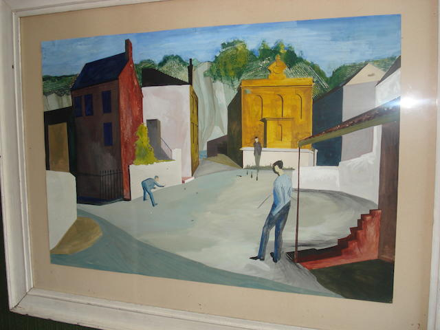 Manner of John Armstrong, circa 1950 Surreal townscape, figures playing skittles