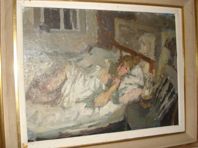 Bernard Dunstan A girl lying in bed 26 x 34cm