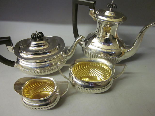 A four piece tea service, Birmingham 1927/28
