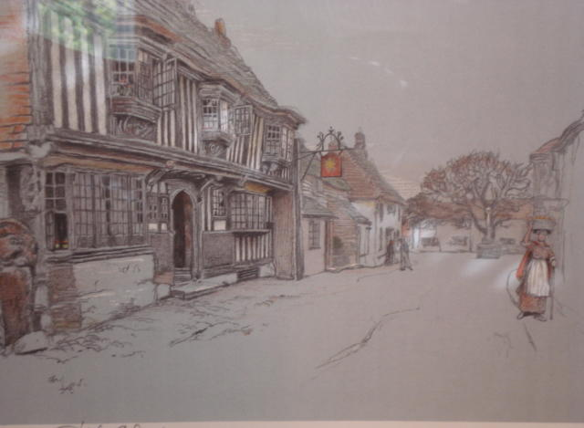Cecil Charles Windsor Aldin, RBA (British, 1870-1935) The Star, Alfriston, Sussex, together with three other prints of coaching inns, signed in pencil together with a blindstamp 4