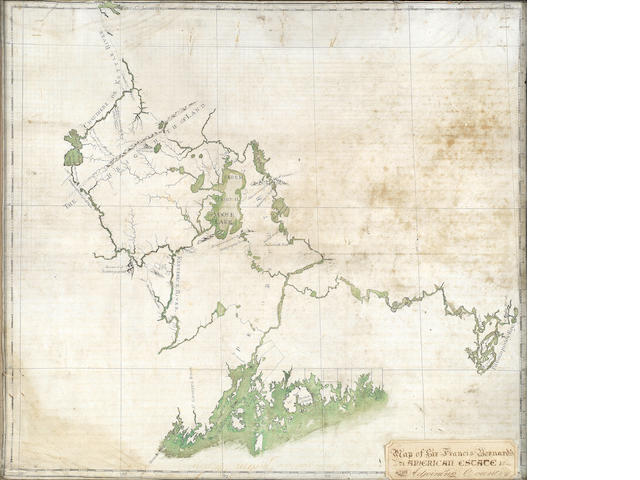 COLONIAL MASSACHUSETTS An untitled map of the river and lake system from Penobscot and Passamaquoddy bays in the south and east, to the Chaudiere River (partly still unsurveyed), the St. Lawrence and Quebec in the north-west, MANUSCRIPT MAP ON VELLUM