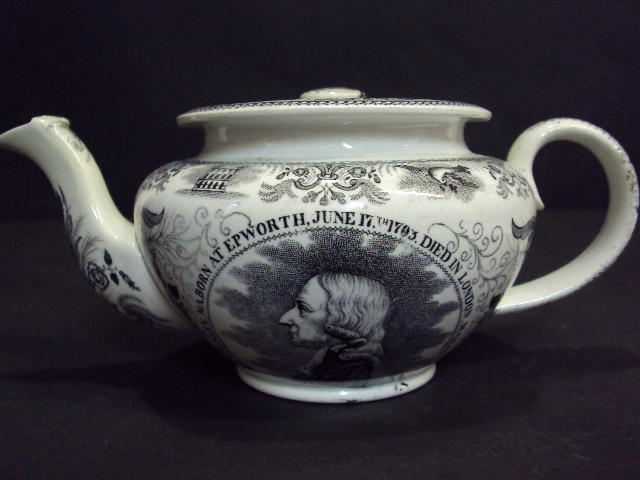 A black-printed John Wesley teapot