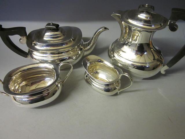 A four piece tea service, by E Viner, Sheffield 1939,