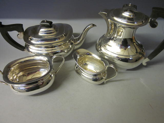 A four piece tea service, by E Viner, Sheffield 1939,